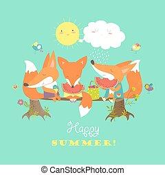Cute foxes eating watermelon