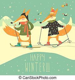 Cute foxes skiing on the piste