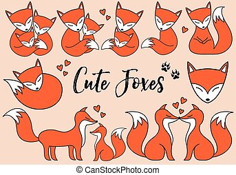 Cute foxes, vector set - Cute foxes, little baby fox, hand...