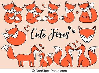 Cute foxes, vector set
