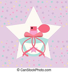 cute fragrance in star sprinkles background vector...