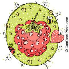 cute, framboesa, verde, estrelas, etiqueta
