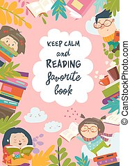 Cute frame composed of children reading books
