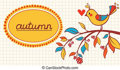 Cute frame design with bird.