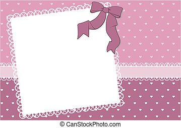 cute frame scrapbook background - blank frame with hearts...
