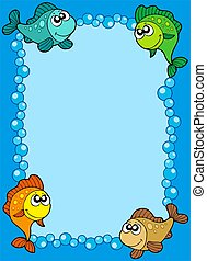 Cute frame with fishes and bubbles