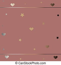 Cute Frame with hearts in gold.