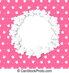 Cute Frame with Paper Flowers Vector Illustration