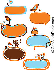 Cute frames and bubbles - Cute frames with animal, birds and...