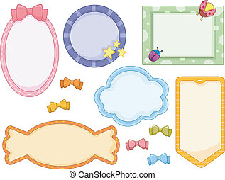 Cute Frames - Illustration of cute candy-colored frames in...