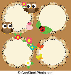 Cute frames with flowers and birds