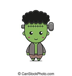cute frankenstein mascot character halloween theme