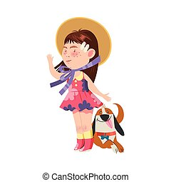 Cute Freckled Girl in Wide Brimmed Hat Walking with the Dog Vector Illustration
