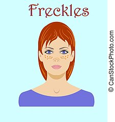 cute, freckled, redhaired, mulher jovem, retrato, para, avatar, isolado, ligado, um, experiência azul