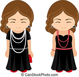 Cute french girls in a little black dresses with beads.