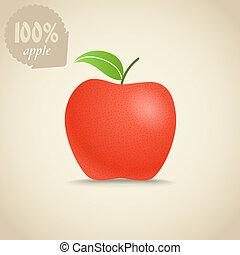 Cute fresh red apple illustration