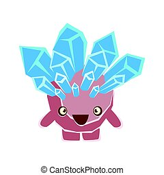 Cute friendly crystal stone with open mouth. Cartoon...
