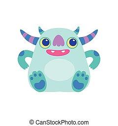 Cute Friendly Horned Monster, Funny Alien Cartoon Character Fantastic Creature Vector Illustration