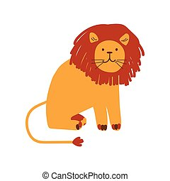 Cute Friendly Lion, Design Element Can Be Used for T-shirt Print, Poster, Card, Label, Badge Vector Illustration