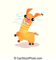 Cute friendly llama alpaca cartoon character vector Illustration on a white background