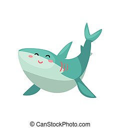 Cute friendly shark cartoon character vector Illustration on a white background