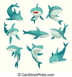 Cute friendly sharks set, cute funny sea animal cartoon character vector Illustration on a white background