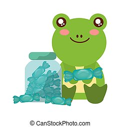 cute frog and jar sweet candy wrapper vector illustration