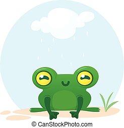 Cute Frog Cartoon Character. Vector illustration