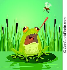 Cute frog character hunt on mosquitoes. Vector flat cartoon...