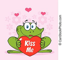 Cute Frog Female Cartoon Mascot Character Holding A Valentine Love Heart With Text Kiss Me