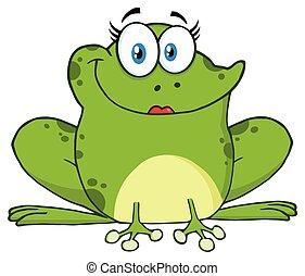 Cute Frog Female Cartoon Mascot Character