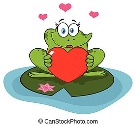 Cute Frog Female Cartoon Mascot Character In A Pond Holding A Valentine Love Heart