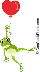Cute frog flying with heart balloon
