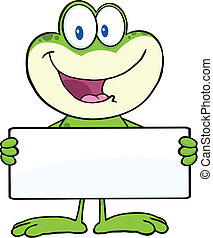 Cute Frog Holding A Banner - Cute Frog Cartoon Mascot...