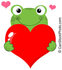Cute Frog Holding A Heart Cartoon Character