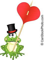 Cute frog holding heart