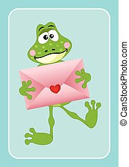 Cute frog holding love envelope