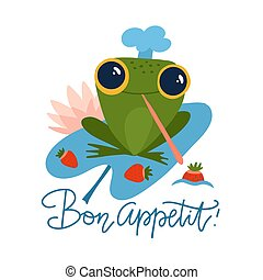 Cute frog holds strawberries cartoon character isolated on white background. Funny frog in a chef's cap. Flat vector illustration with lettering quote Bon Appetit.