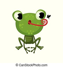 Cute frog hunting on mosquito. Flat vector icon of funny green toad. Cartoon character of amphibian animal