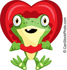 Cute frog in love, illustration, vector on white background.