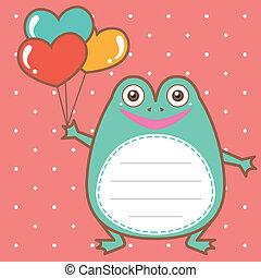 cute frog of scrapbook background.
