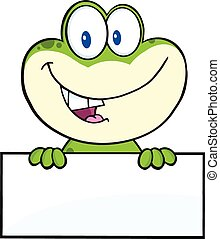 Cute Frog Over Blank Sign