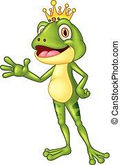 Cute frog presenting - amphibian, animal, card, cartoon,...