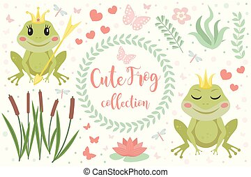 Cute frog princess character set of objects. Collection of design element with marsh reeds, flowers, plants. Kids baby clip art funny smiling animals. Vector illustration.