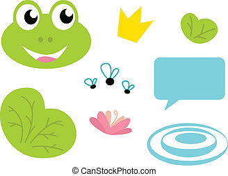 Cute Frog queen icons - isolated on white - Fairy Frog...