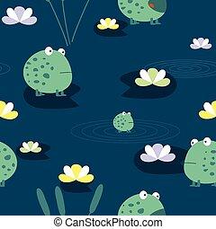 Cute frog, seamless pattern