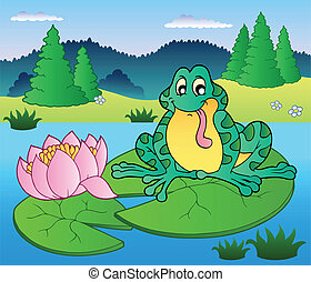 Cute frog sitting on water lily - vector illustration.