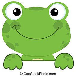 Frog Smiling Over A Sign Board - Cute Frog Smiling Over A...