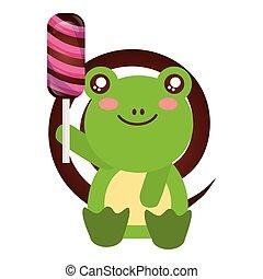 cute frog sweet candy lollipop