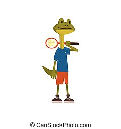 Cute Frog Tennis Player, Humanized Animal Cartoon Character Wearing Sports Uniform Standing with Racket Vector Illustration